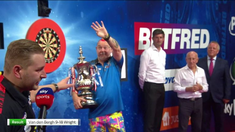 Dimitri Van den Bergh said his heart was in pain from the defeat but congratulated Peter Wright for deservedly winning the World Matchplay Championship