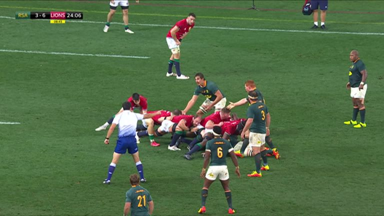 Cheslin Kolbe is shown a yellow card