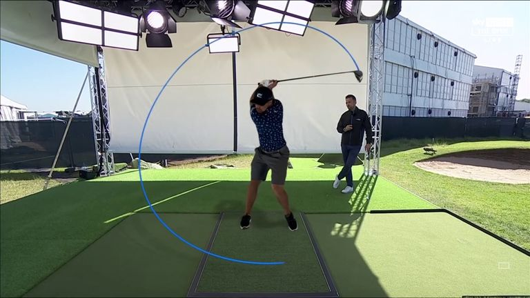 Nick Dougherty uses Sky Scope technology in The Open Zone to examine the key elements of Bryson DeChambeau's swing