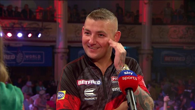 Nathan Aspinall was so happy to be back playing front of a home crowd at the Winter Gardens after his 10-6 defeat of Mervyn King