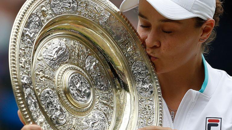 Ashleigh Barty has won Wimbledon for the first time after a three-set victory over Karolina Pliskova
