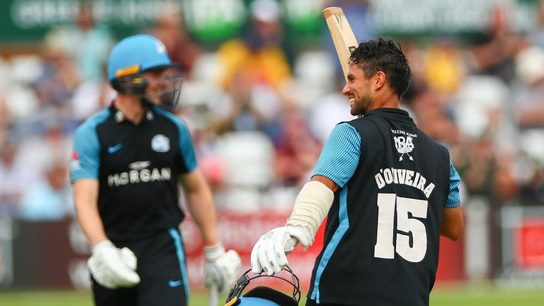 Brett D'Oliveira celebrates after reaching his century for Worcestershire against Essex