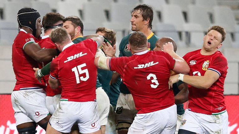 The Lions and Springboks scuffled regularly throughout, with a large melee forming after Kolbe took out Murray