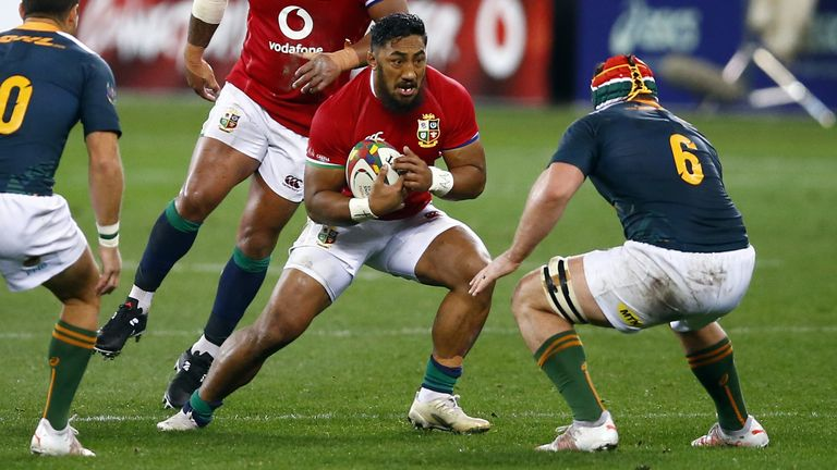 Bundee Aki runs at the South Africa 'A' defence