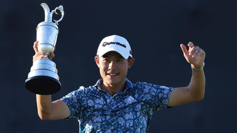 Collin Morikawa with the Claret Jug after winning The Open