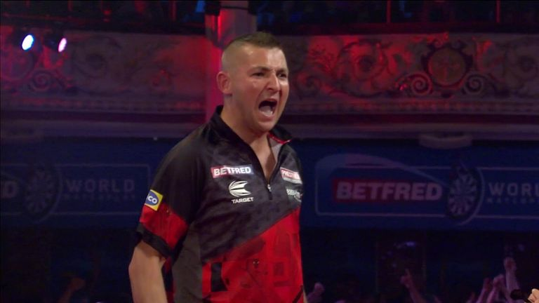 Nathan Aspinall hits a 130 checkout in the World Matchplay quarter-final against Michael van Gerwen
