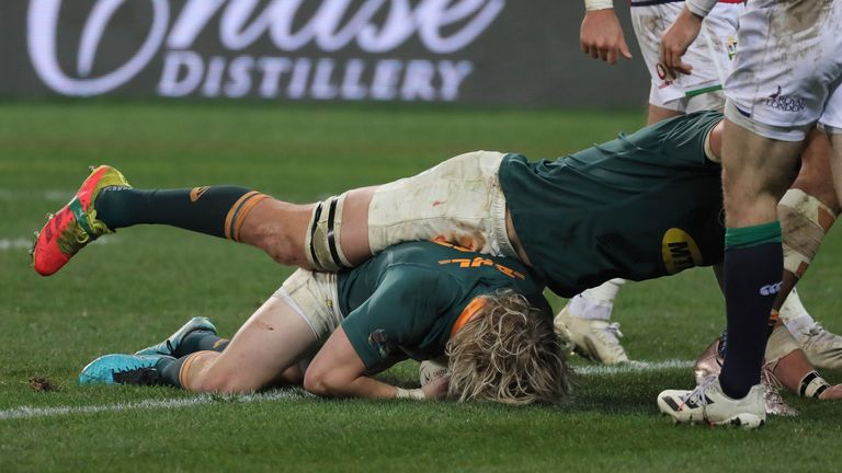 Faf de Klerk reacted quickest to score South Africa's only try