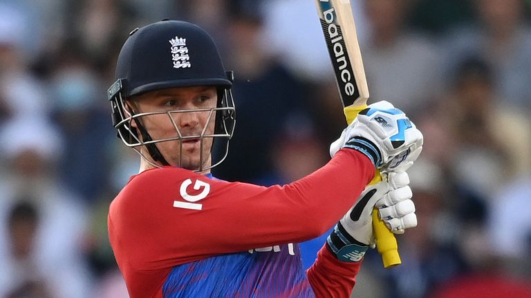 Jason Roy scored 64 from 36 balls for England in Manchester, reaching his half-century from 30 deliveries with a boundary