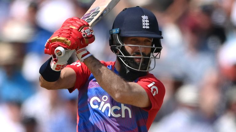 Moeen Ali cracked six fours and one six in his innings of 36 off 16 balls when batting at number four for England