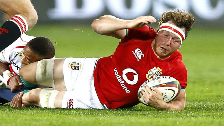 Hamish Watson, named player of the match, charged over for the second try in the game