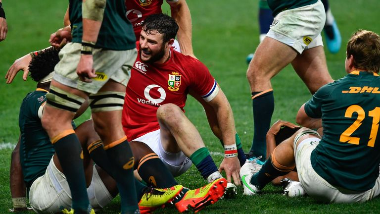 Robbie Henshaw and the Lions thought they had scored a try in the first half, but it was not awarded on TMO review
