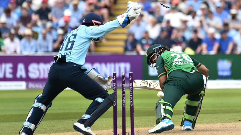 Imam-ul-haq was completely deceived by this superb delivery from Matt Parkinson that turned square to take out his middle stump
