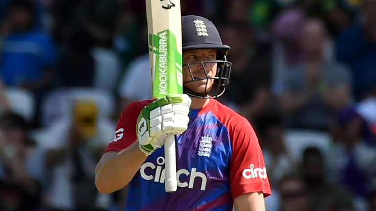 Jos Buttler reached his 14th T20I fifty from 33 balls in his comeback game