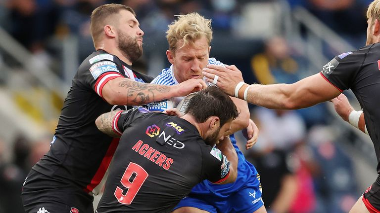 Matt Prior takes on the Salford defence