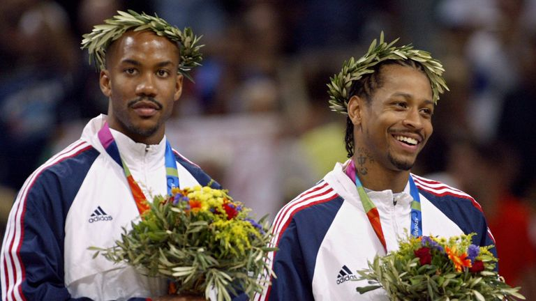 Stephon Marbury and Allen Iverson are awarded their bronze medals in Athens