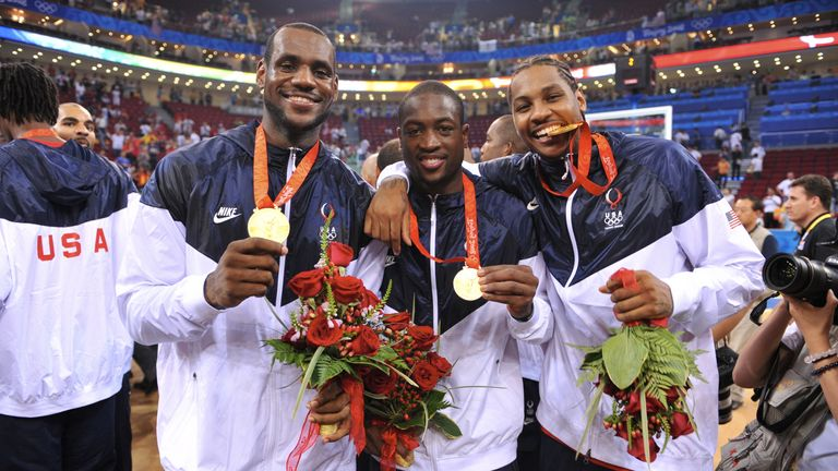 LeBron James, Dwyane Wade, Carmelo Anthony with their gold medals at the 2008 Beijing Olympics