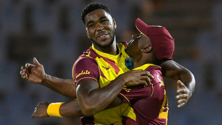 Fast bowler Obed McCoy (left) polished off the Australia innings as West Indies took a 1-0 lead in the five-match T20 international series