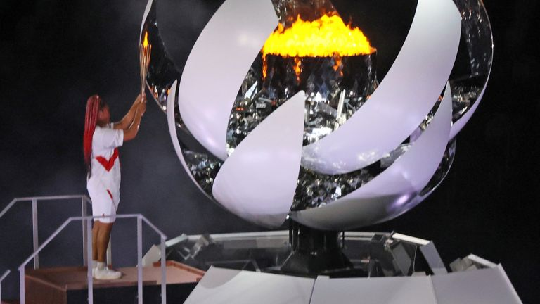 Naomi Osaka was the final Olympic torchbearer and lit the cauldron in Tokyo