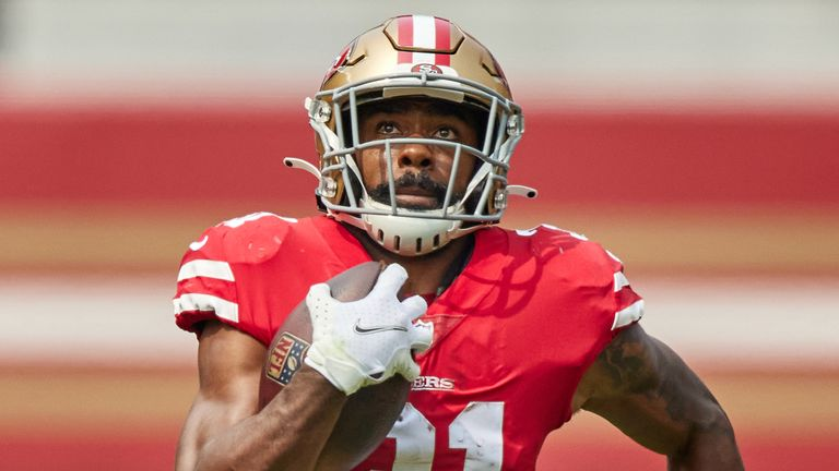 San Francisco 49ers running back Raheem Mostert was limited to eight games in 2020 due to injury. (Photo by MSA/Icon Sportswire)