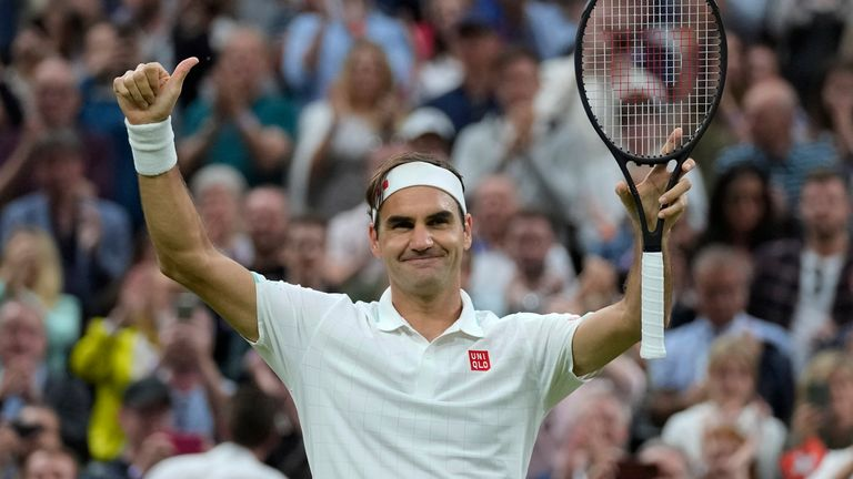 Roger Federer moved into the last eight at Wimbledon for the 19th time in his career with a routine victory over Lorenzo Sonego (AP)