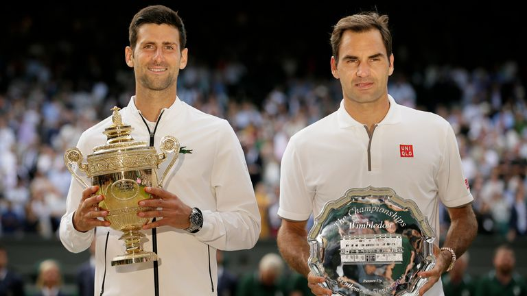 Djokovic triumphed in a five-set epic over Federer in 2019 - the last time the trophy was lifted after Wimbledon was cancelled in 2020 (AP)