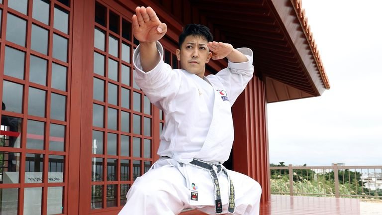 Japan's Ryo Kiyuna is a three-time gold medalist in the men's kata event at the World Karate Championships