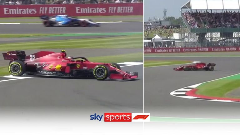 Carlos Sainz goes spinning from Village to The Loop in FP1 at Silverstone.