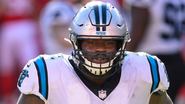 Panthers offensive tackle Taylor Moton got his pay day. (AP Photo/Reed Hoffmann)
