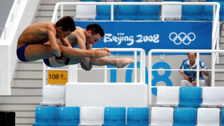 Teenage sensation Tom Daley (L) and partner Blake Aldridge (R) practice for their synchro final at the Beijing Olympics in 2008