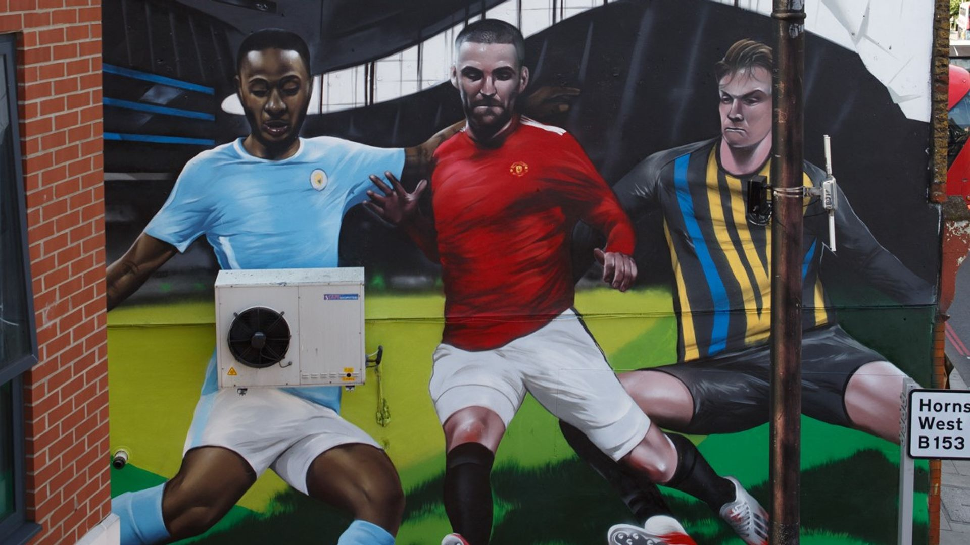 Street art tribute to Sterling, Shaw, Pickford after topping poll