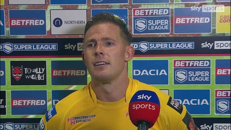 Greg Eden reacts to his winning try for Castleford