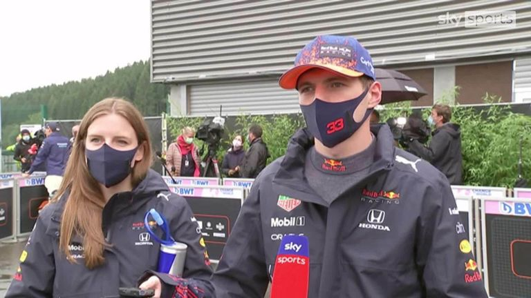 Red Bull's Max Verstappen was delighted to secure pole position in torrential rain at Spa.