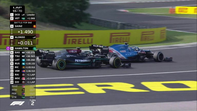 Fernando Alonso and Lewis Hamilton go wheel to wheel in the Hungarian Grand Prix.