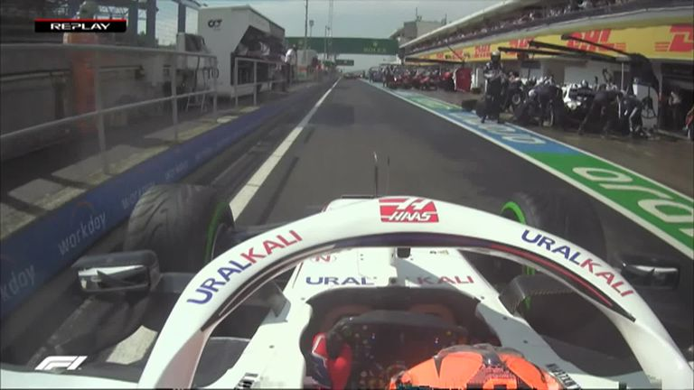 Nikita Mazepin is out of the Hungarian Grand Prix after Kimi Raikkonen collides with the Haas driver after being released from his garage early