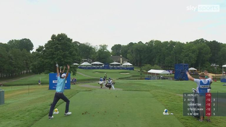 Chesson Hadley recorded the first hole-in-one of his PGA Tour career during the final round of the Wyndham Championship, with the American celebrating his ace in style!