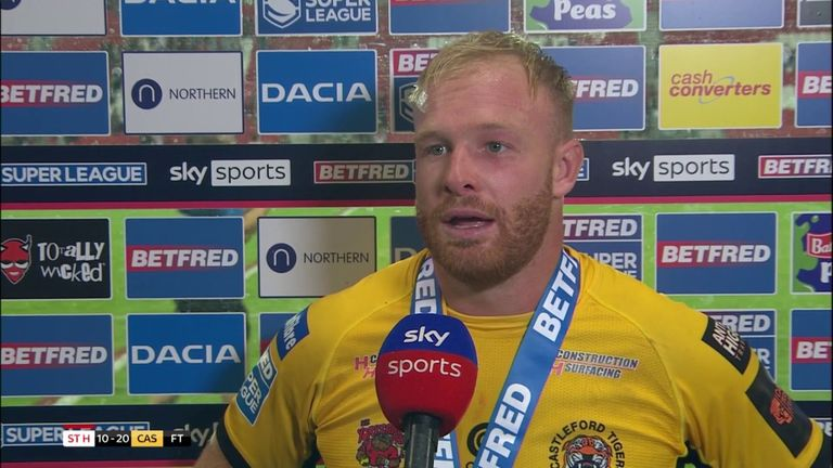 Castleford try-scorer Oliver Holmes was named Player of the Night after leading the Tigers to victory over St Helens.