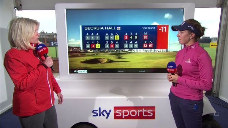 Georgia Hall reflects on posting a final-round 67 and setting the clubhouse target at the AIG Women's Open.