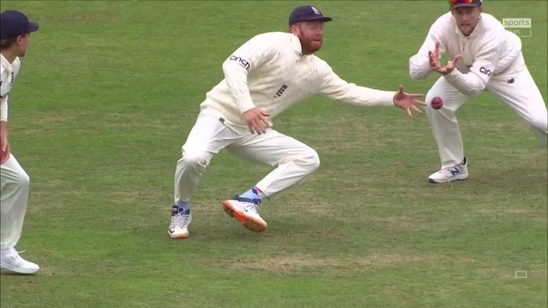 Jonny Bairstow took a sensational one-handed catch at slip to give England a breakthrough just before lunch