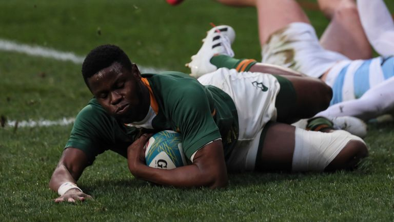 Aphelele Fassi scored South Africa's second try