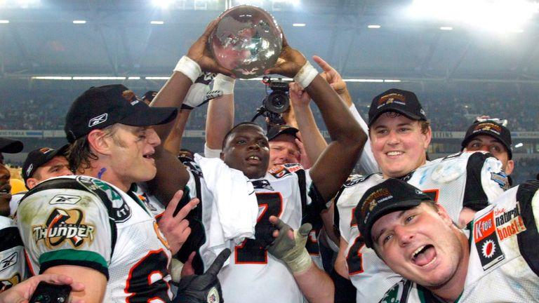 The Berlin Thunder celebrate winning World Bowl XII in 2004 (Getty)