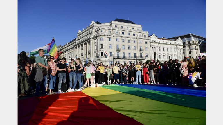 Protestors in Budapest unfurled a rainbow flag in front of the Hungarian Parliament building when the so-called 'Child Protection Act' was passed into law in June
