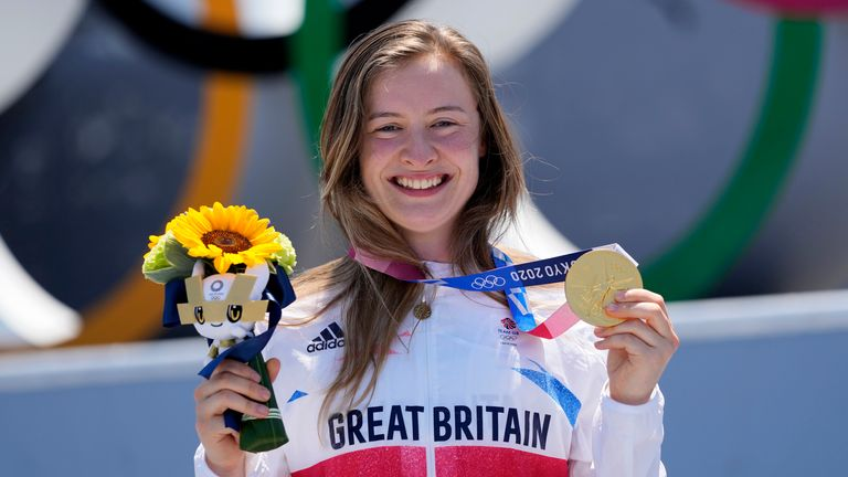 Charlotte Worthington celebrating with her gold medal after the women's BMX freestyle final
