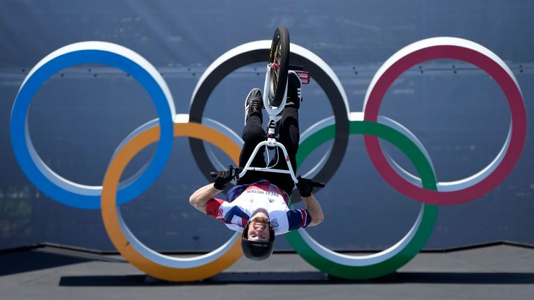Declan Brooks of Britain competes in the men's BMX freestyle final