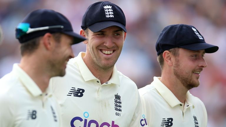 James Anderson, Craig Overton and Ollie Robinson leave the field in a happy mood at Headingley
