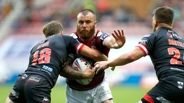 Jake Bibby takes on the Salford defence