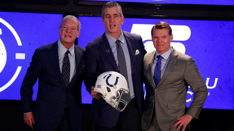 Indianapolis Colts head coach Frank Reich (centre) with owner Jim Irsay (left) and general manager Chris Ballard