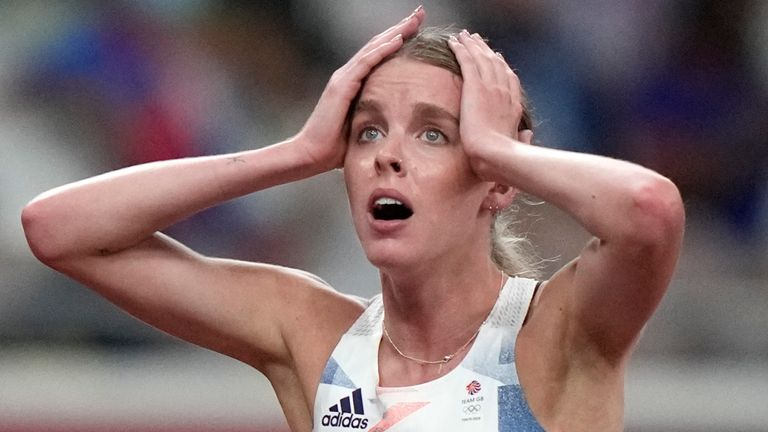 Keely Hodgkinson reacts after her second-place finish in the final of the women's 800m (AP Photo/David Goldman)