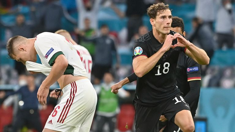 Leon Goretzka celebrates his equaliser for Germany that eliminated Hungary from Euro 2020 in June