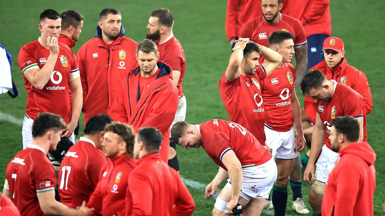 Lions players look dejected after losing the third Test and the series