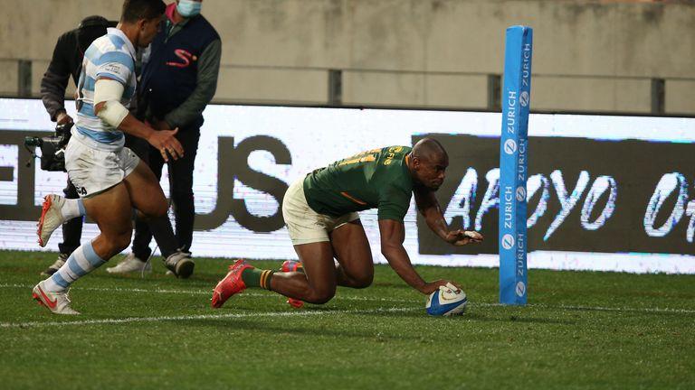 Makazole Mapimpi anotó para los Springboks del equipo